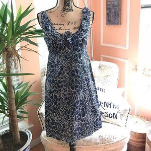 Ann Taylor Blue floral Light Weight Summer Dress